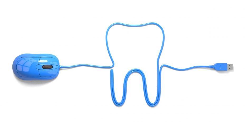 fio do mouse formando um dente, fazendo alusão a um site para dentistas