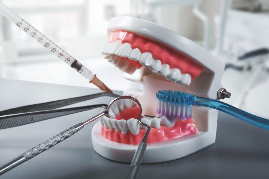 especializações da odontologia ilustrada por uma arcada dentária e equipamentos