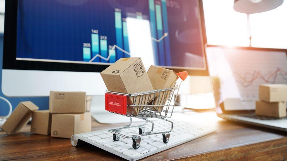 carrinho de compras e suprimentos